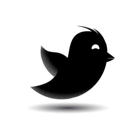 twit: Flying black bird icon isolated. Vector illustration