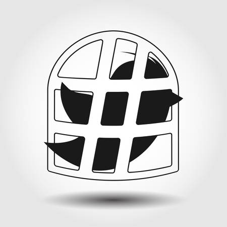 twit: Flying bird covered with hashtag icon isolated. Vector illustration