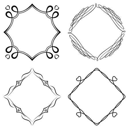 garniture: Set of nice decorative frames with ornament. Vector Illustration