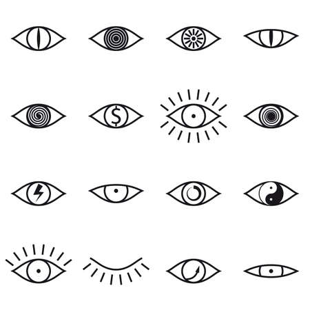 Set of Various Eye Icons on White Background Vector illustration Vector