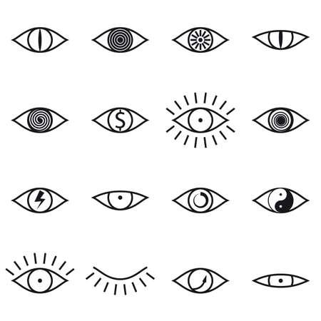 Verzameling van verschillende pictogrammen Oog op witte achtergrond vector illustratie