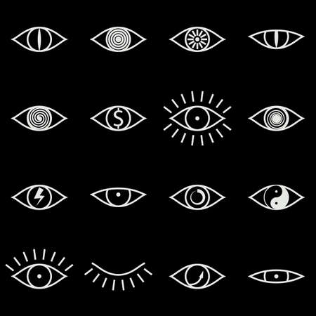 xxx: Set of Various Eye Icons on Black Background Vector illustration