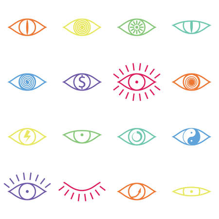 Set of Various Color Eye Icons on White Background Vector illustration Vector