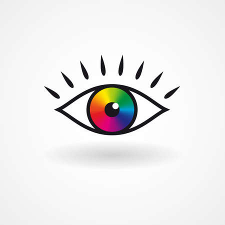 hypnotizing: Colorful vector eye icon creative design vector illustration