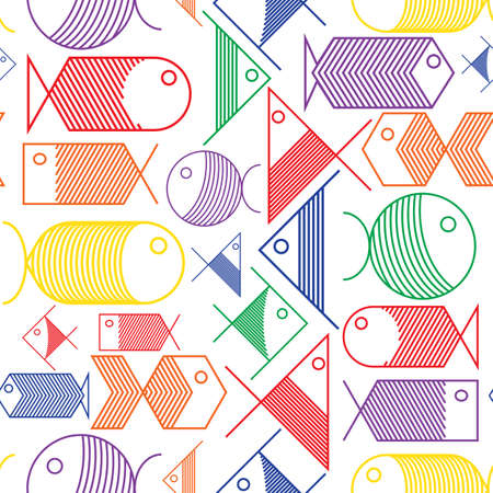 fishes pattern: Seamless background of colorful fishes pattern cartoon