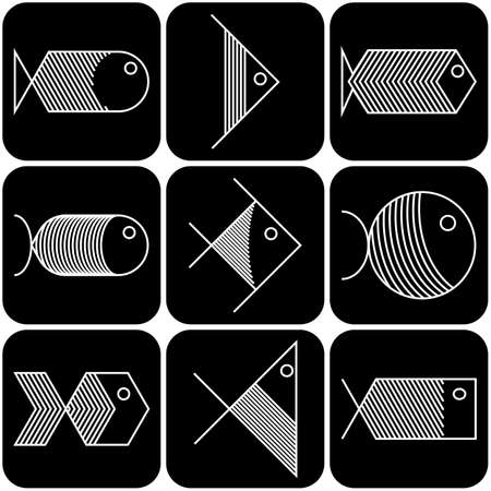 Collection of vector white  fish icons on black background