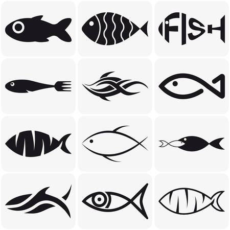 Collection of creative vector black  fish icons on white background Çizim