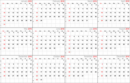 thursday: Vector calendar planner schedule 2016 week starts with sunday