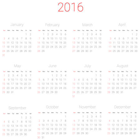 mon 12: Vector calendar planner schedule 2016 week starts with sunday