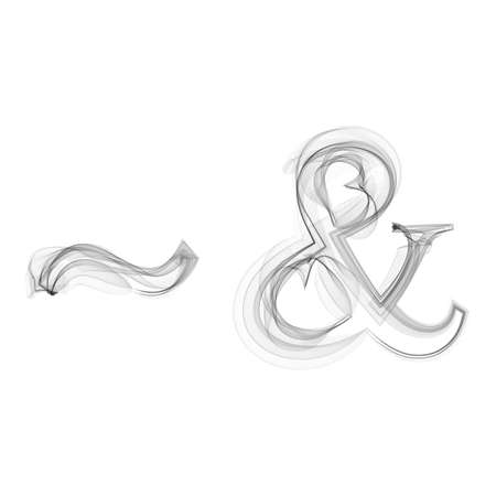Tilde and Ampersand black smoke on white background vector icon