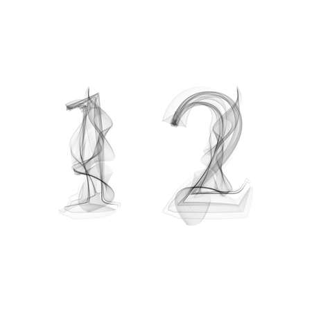 black smoke: Black Smoke font on white background. Numbers 1 2. Character one two. Vector illustration.