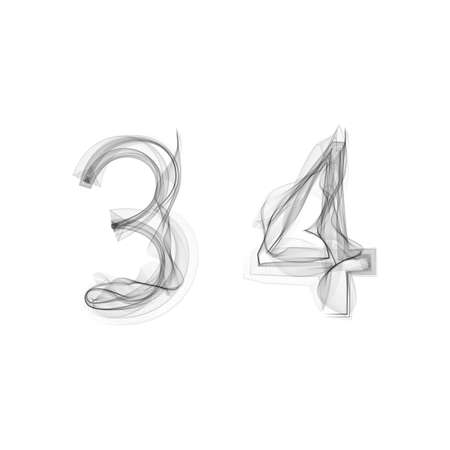 3 4: Black Smoke font on white background. Numbers 3 4. Character three four. Vector illustration. Illustration