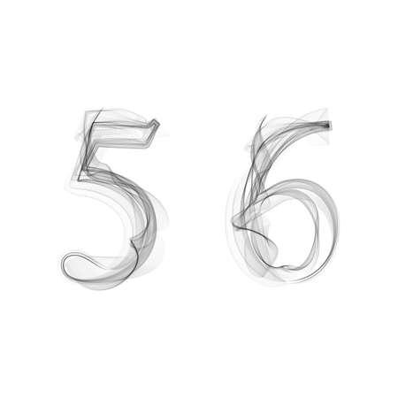 black smoke: Black Smoke font on white background. Numbers 5 6. Character five six. Vector illustration. Illustration