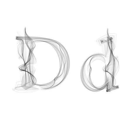 Black Smoke font on white background. Letter D. Vector illustration alphabet