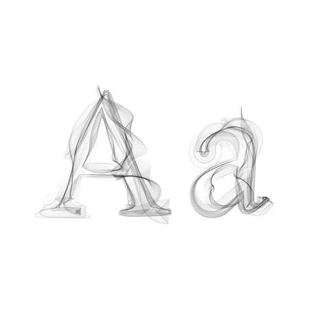 Black Smoke font on white background. Letter A. Vector illustration alphabet