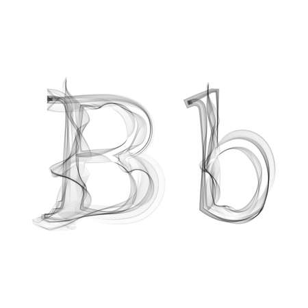 flame letters: Black Smoke font on white background. Letter B. Vector illustration alphabet