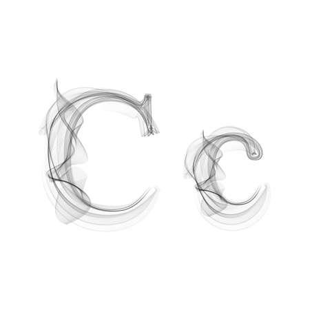 Black Smoke font on white background. Letter C. Vector illustration alphabet