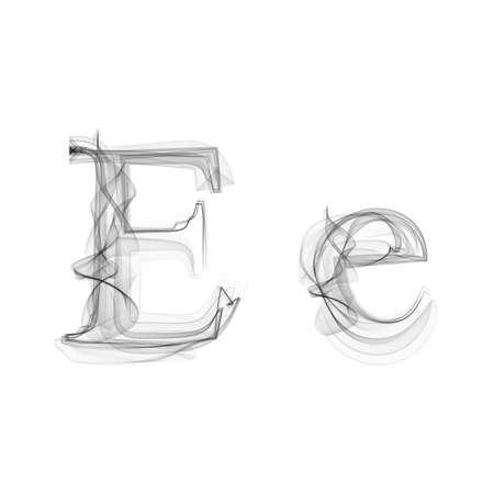 Black Smoke font on white background. Letter E. Vector illustration alphabet 일러스트