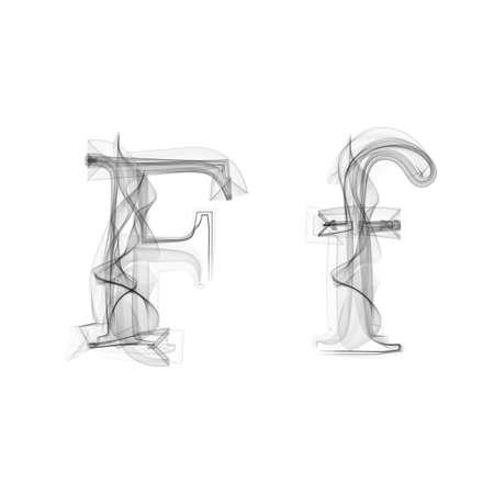 Black Smoke font on white background. Letter F. Vector illustration alphabet