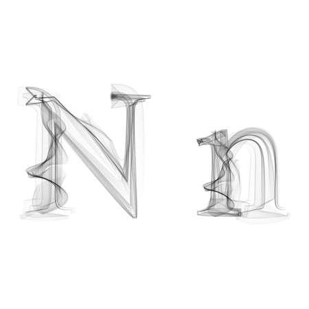 fiery font: Black Smoke Schrift auf wei�em Hintergrund. Schreiben N. Vector illustration Alphabet
