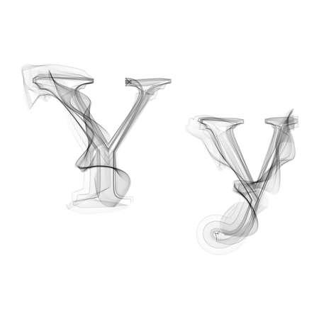 black smoke: Black Smoke font on white background. Letter Y. Vector illustration alphabet Illustration