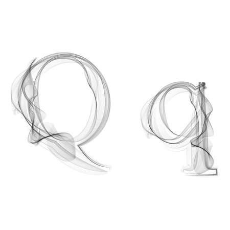 black smoke: Black Smoke font on white background. Letter Q. Vector illustration alphabet