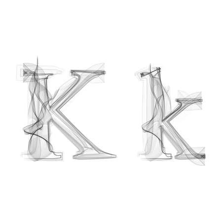 Black Smoke font on white background. Letter K. Vector illustration alphabet