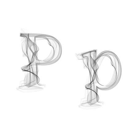 Black Smoke lettertype op een witte achtergrond. Letter P. Vector illustratie alfabet