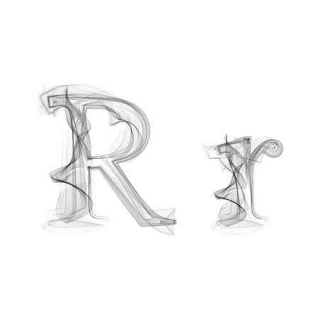 fire letter: Black Smoke font on white background. Letter R. Vector illustration alphabet Illustration