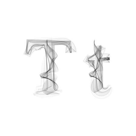 black smoke: Black Smoke font on white background. Letter T. Vector illustration alphabet