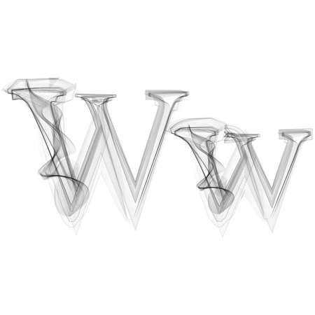 Black Smoke font on white background. Letter W. Vector illustration alphabet