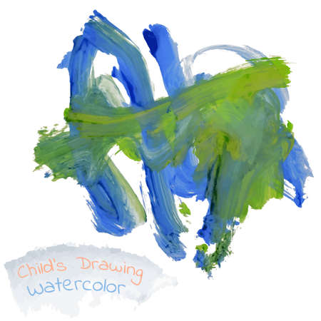 childs: Childs drawing abstract animal elephant  watercolor vector