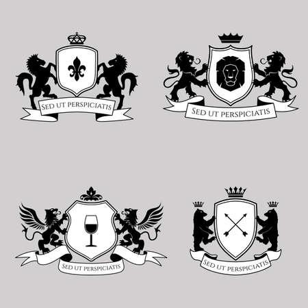 Heraldische tekenen, elementen, insignes op heldere achtergrond. Vector set