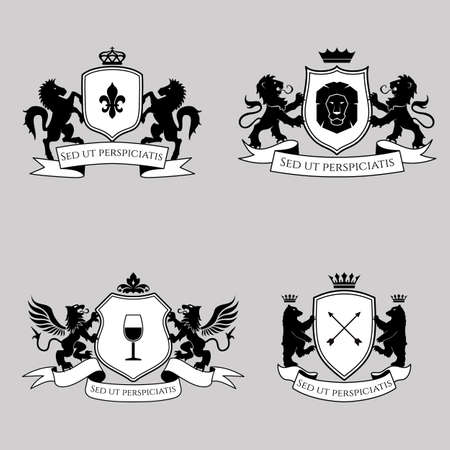 Heraldic signs, elements, insignia on bright background. Vector set