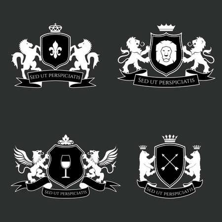 Heraldic signs, elements, insignia on grey background. Vector set Vector