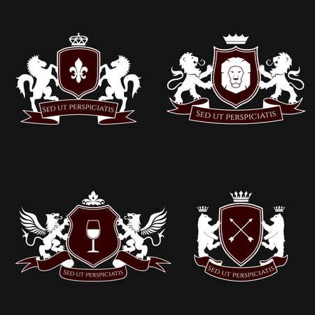 insignias: Signos heráldicos, elementos, insignias en fondo negro. Vector conjunto