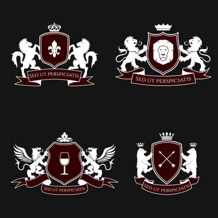 Heraldic signs, elements, insignia on black background. Vector set