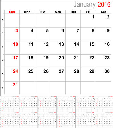 number 12: Vector calendar planner schedule 2016 week starts with sunday