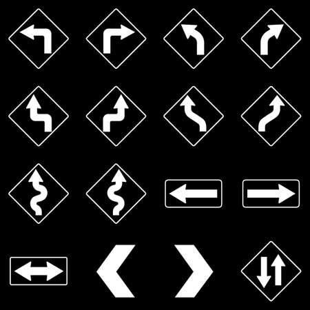 curve ahead sign: Set of white road traffic arrow signs on black background. Vector