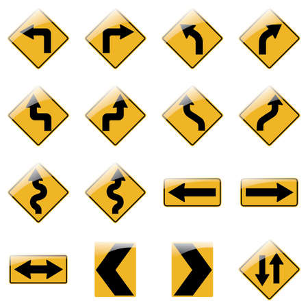 Set of yellow road traffic arrow signs on white background. Vector