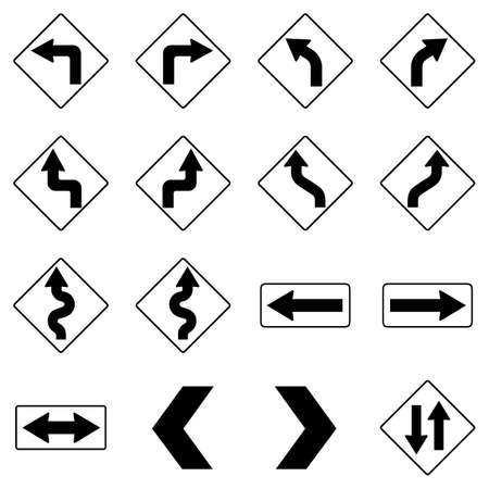 Set of black road traffic arrow signs on white background. Vector