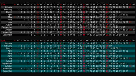 2016 Creative Line Calendar Planner Organizer. Black and colored background version. Vector Vector