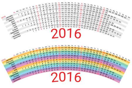 scheduler: 2016 Creative Rainbow Calendar Planner Organizer. Black-white and colored version. Vector