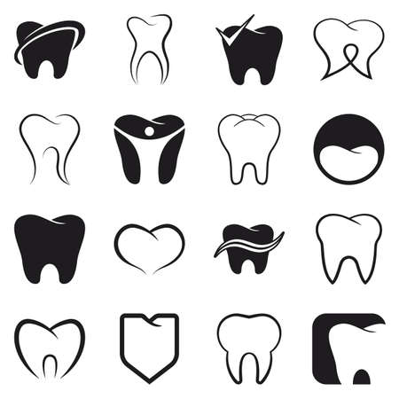 dientes caricatura: Diente, iconos negros dientes conjunto de vectores en el fondo blanco