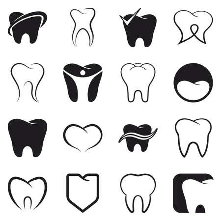 Tand, tanden vector zwarte pictogrammen instellen op een witte achtergrond