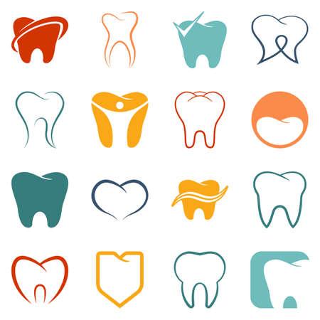 dientes caricatura: Diente, de color vector iconos dientes fijó en el fondo blanco
