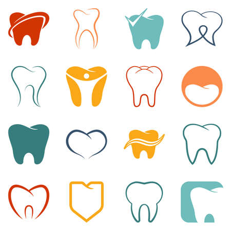 smiley: Tooth , teeth vector colored icons set on white background