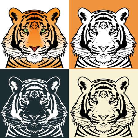 tiger head: Tiger head silhouette
