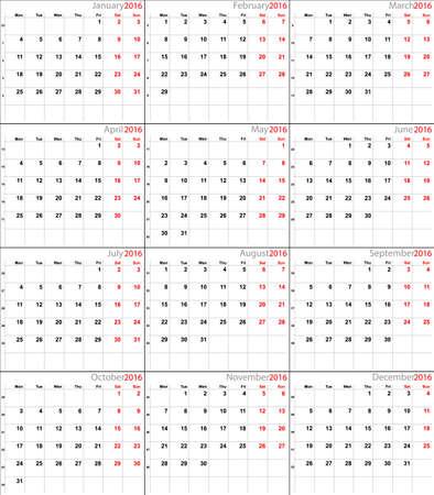 scheduler: Vector calendar planner schedule 2016 week starts with monday