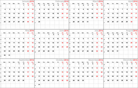 mon 12: Vector calendar planner schedule 2016 week starts with monday